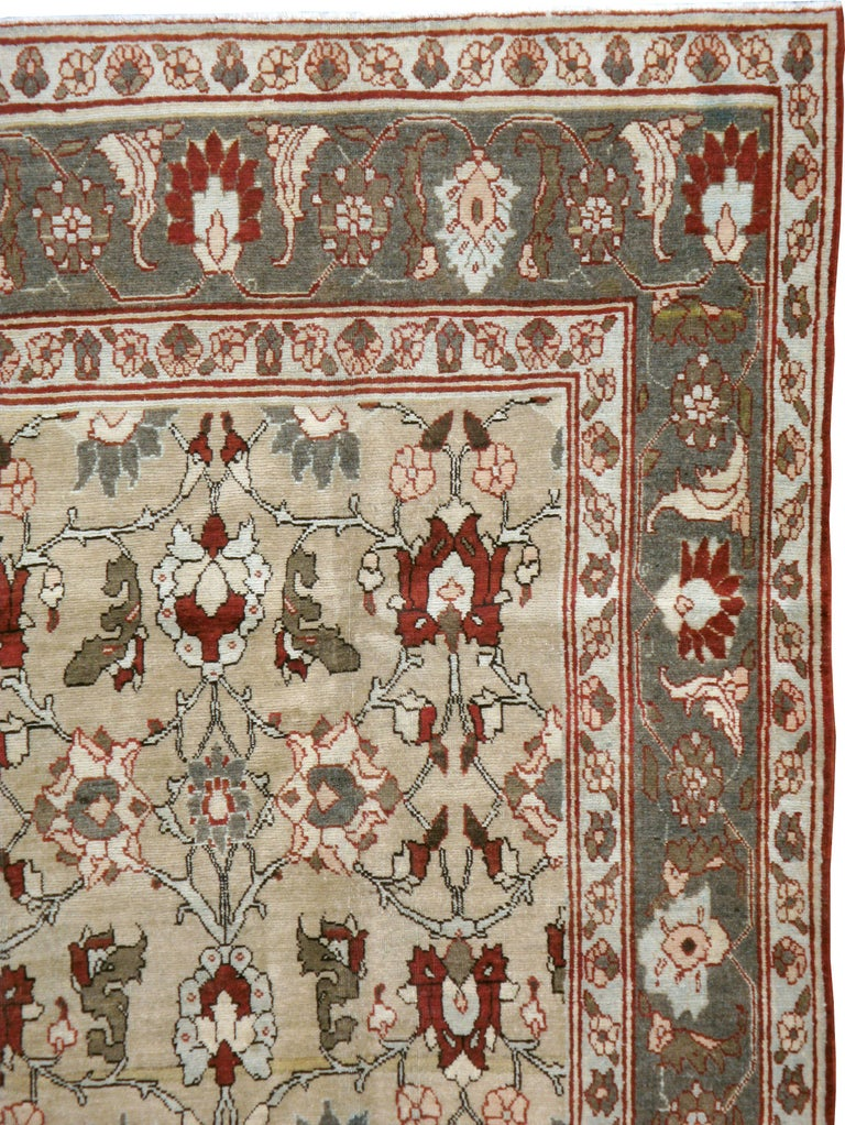 Hand-Knotted Antique Persian Tabriz Carpet For Sale