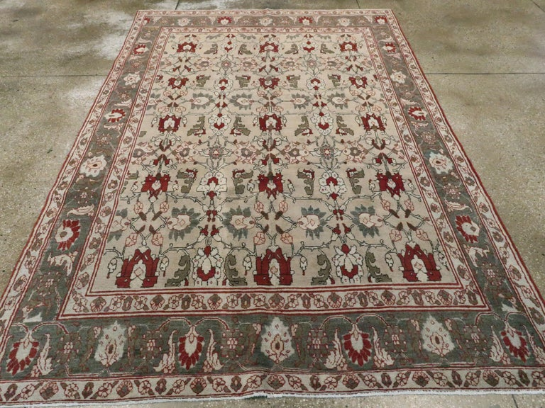 Antique Persian Tabriz Carpet In Good Condition For Sale In New York, NY