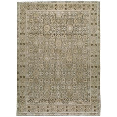 Early 20th Century Handmade Persian Tabriz Room Size Carpet In Neutral Colors