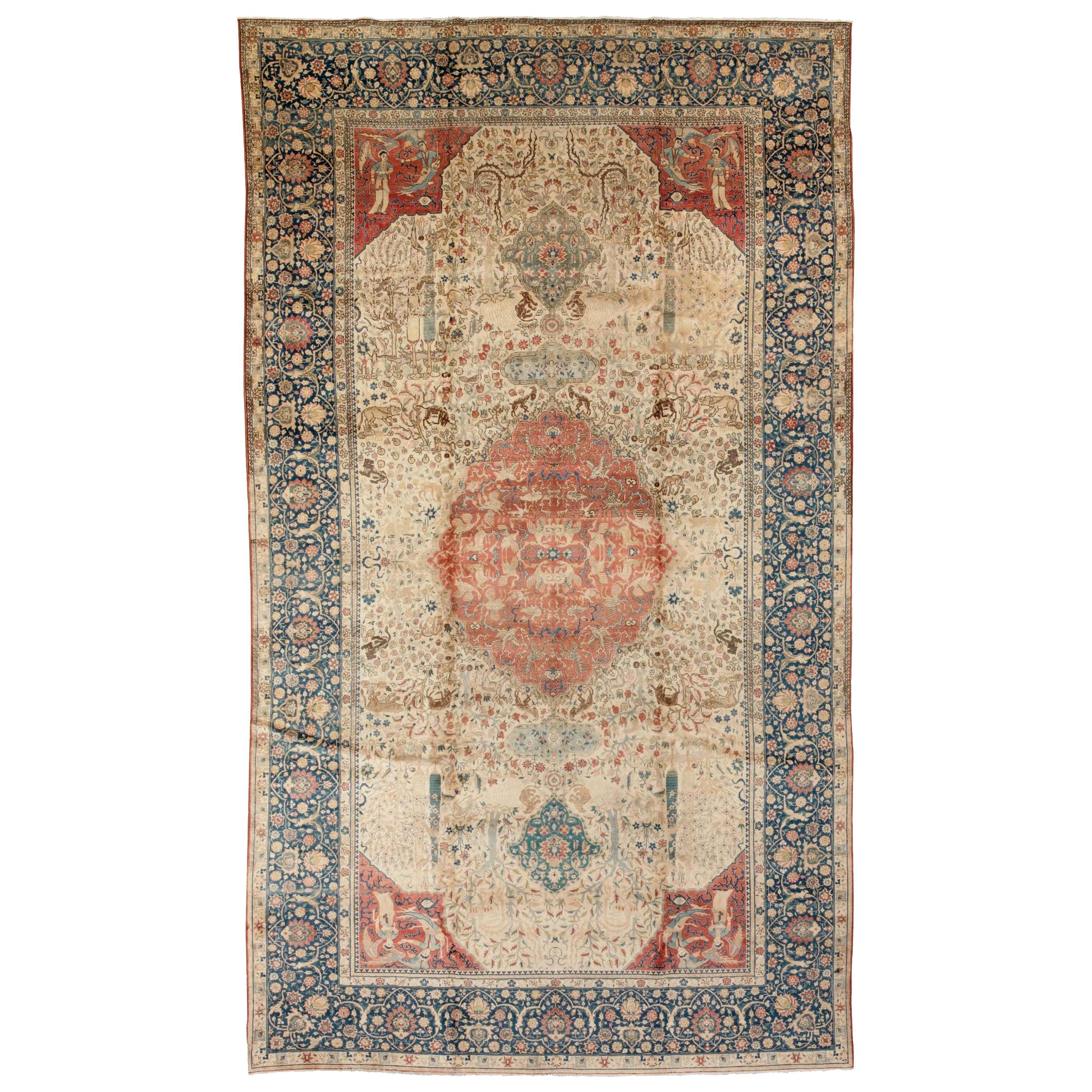Antique Persian Tabriz Beige & Dark Blue Handwoven Wool Carpet