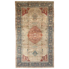 Antique Persian Tabriz Beige & Dark Blue Handwoven Wool Carpet