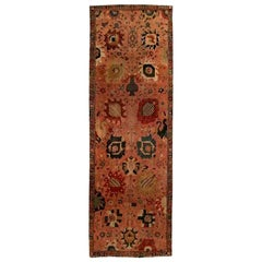 Antique Persian Tabriz Hand-knotted Silk Pink & Red Carpet