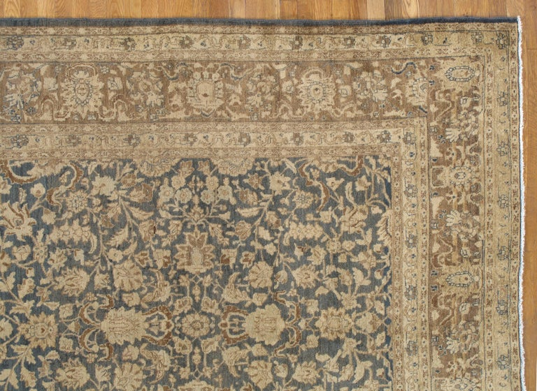Hand-Knotted Antique Persian Tabriz Carpet, Handmade Oriental Rug, Beige, Gray/Blue, Taupe For Sale