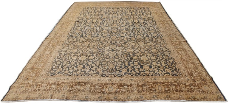 Antique Persian Tabriz Carpet, Handmade Oriental Rug, Beige, Gray/Blue, Taupe In Excellent Condition For Sale In New York, NY