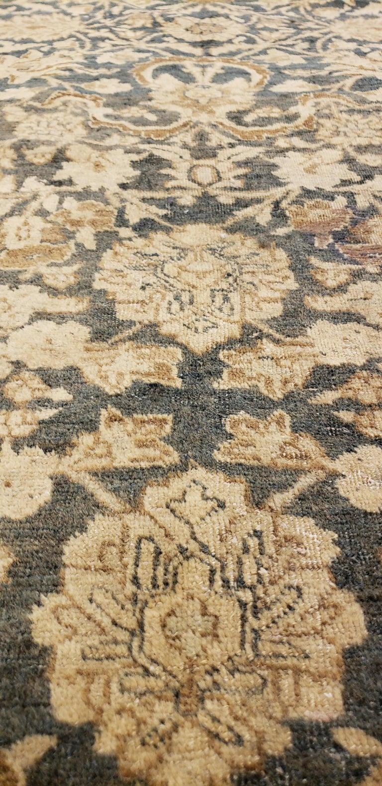 20th Century Antique Persian Tabriz Carpet, Handmade Oriental Rug, Beige, Gray/Blue, Taupe For Sale