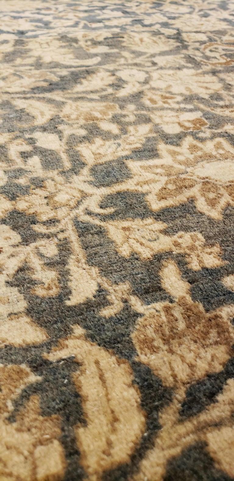 Wool Antique Persian Tabriz Carpet, Handmade Oriental Rug, Beige, Gray/Blue, Taupe For Sale