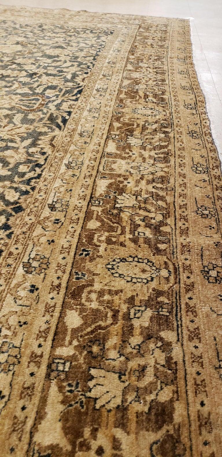 Antique Persian Tabriz Carpet, Handmade Oriental Rug, Beige, Gray/Blue, Taupe For Sale 1