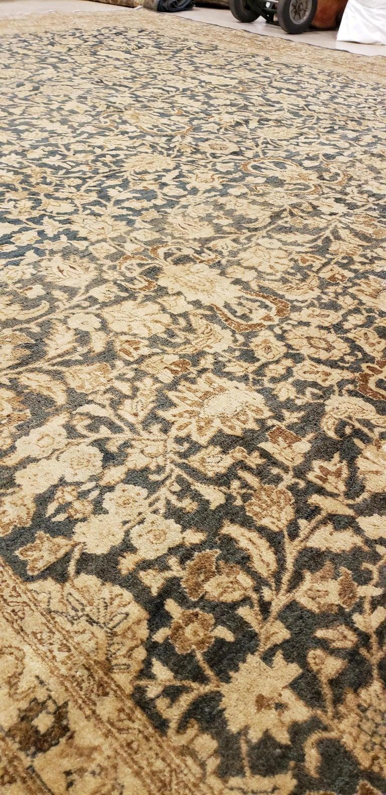 Antique Persian Tabriz Carpet, Handmade Oriental Rug, Beige, Gray/Blue, Taupe For Sale 2