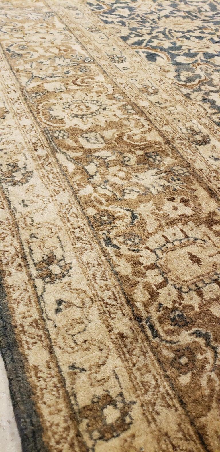 Antique Persian Tabriz Carpet, Handmade Oriental Rug, Beige, Gray/Blue, Taupe For Sale 3