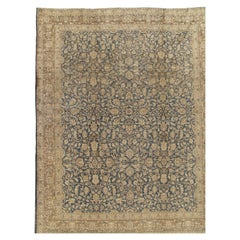 Antique Persian Tabriz Carpet, Handmade Oriental Rug, Beige, Gray/Blue, Taupe