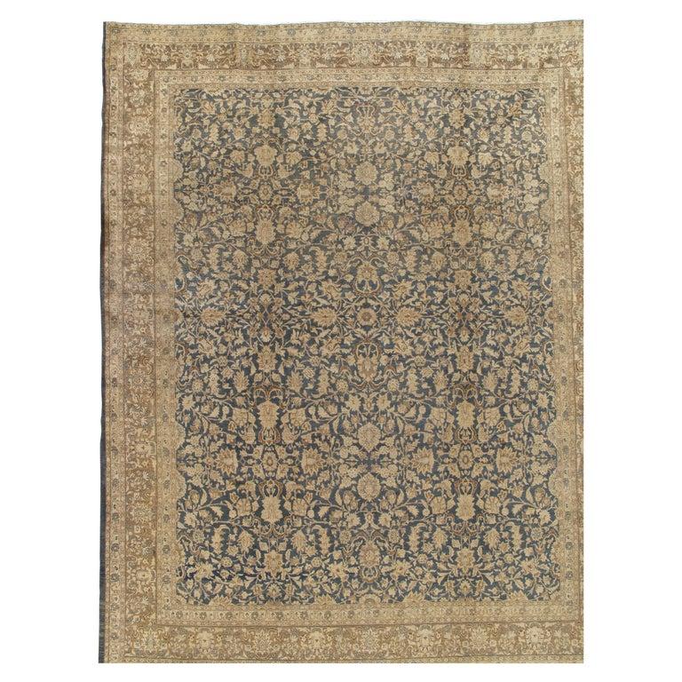 Antique Persian Tabriz Carpet, Handmade Oriental Rug, Beige, Gray/Blue, Taupe For Sale