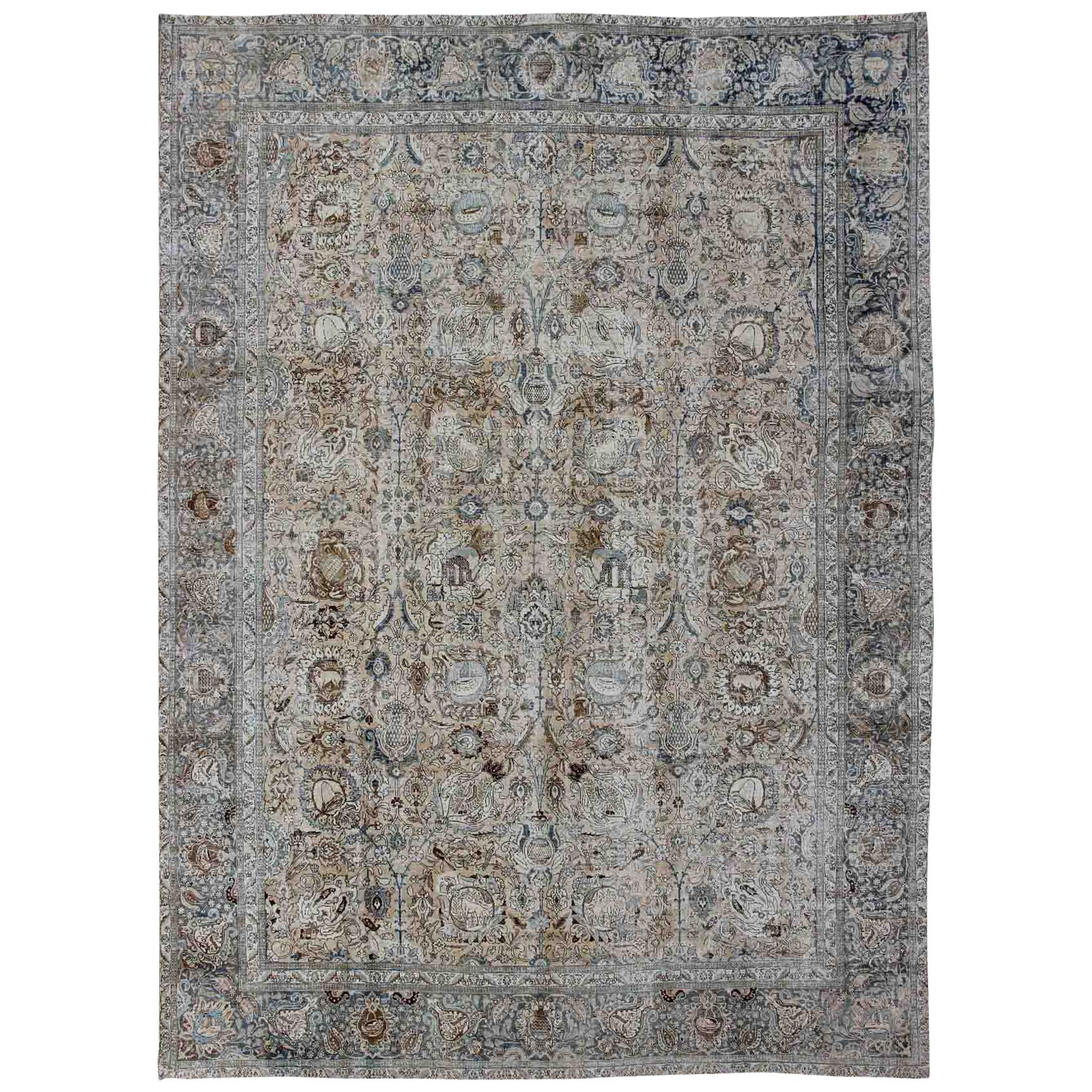 Antique Persian Tabriz Carpet with Geometric Design in Tan and Blue's