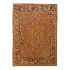 Antique Persian Tabriz Copper, Blue, Green and Salmon Hand Knotted Wool Rug