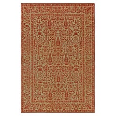 Antique Persian Tabriz Copper, Terracotta and Camel Handmade Wool Rug