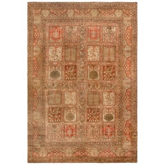 Antique Persian Tabriz Copper, Terracotta and Ivory Hand Knotted Wool Rug