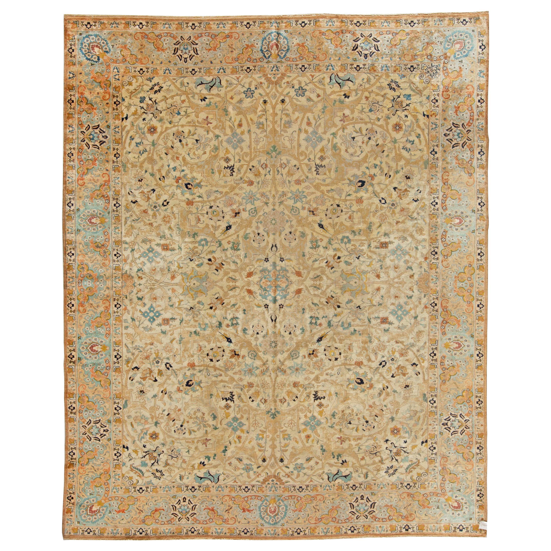 Antique Persian Tabriz Botanic Handwoven Wool Rug