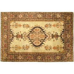 Antique Persian Tabriz Decorative Oriental Rug, in Small Size, with Ivory Field