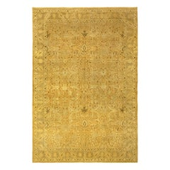 Antique Persian Tabriz Gold Yellow Handwoven Wool Rug