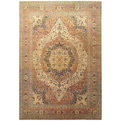 Persian Tabriz Hadji Jalili Oriental Carpet, in Large Size, with Medallion