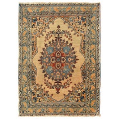 Antique Persian Tabriz Haji Jalili Rug in Taupe, Light Teal and Light Peach