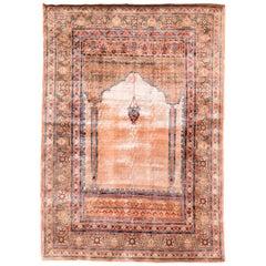 Antique Persian Tabriz Haji Jalili, Silk, on Silk, Hand Knotted, circa 1890