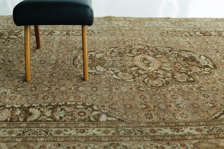Antique Persian Tabriz Haji Jalili Style Rug In Good Condition For Sale In WEST HOLLYWOOD, CA