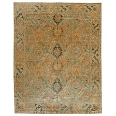 Antique Persian Tabriz Handmade Wool Carpet in Light Blue and Sand Shades
