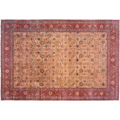 Antique Persian Tabriz Oriental Carpet, in Large Size with Allover Floral Design