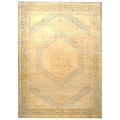 Antique Persian Tabriz Oriental Carpet in Large Squarish Size, with Soft Colors