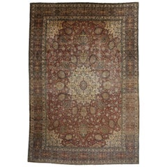 Antique Persian Tabriz Palace Size Rug with The Ardabil Carpet Design