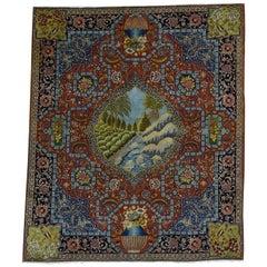 Antique Persian Tabriz Pictorial River/Bird Mint Cond Oriental Rug