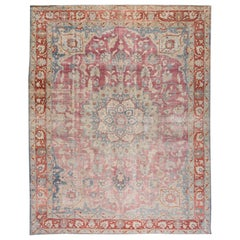 Antique Persian Tabriz Red and Blue Handmade Medallion Floral Wool Rug
