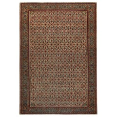 Antique Persian Tabriz Red and Blue Handwoven Wool Rug