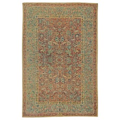 Antique Persian Tabriz Red, Orange, Blue and Green Handwoven Wool Carpet