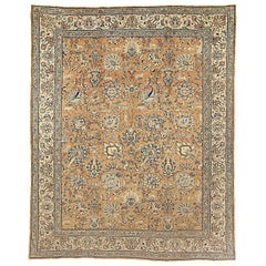 Antique Persian Tabriz Rug from 20th Century with Ivory and Blue Floral Details
