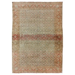 Antique Persian Tabriz Rug in Gray and Coral-Red