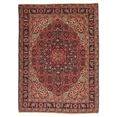 Antique Persian Tabriz Rug in Red, Black & Ivory Floral Patterns All-Over