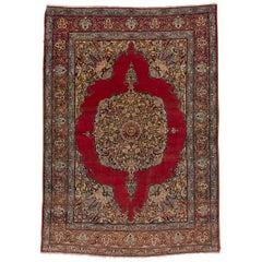 Antique Persian Tabriz Rug, Red Field, Coral Borders, Medium Pile