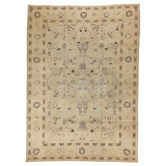 Antique Persian Tabriz Rug with Fine Black and Brown Floral Details