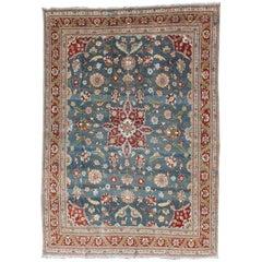 Antique Persian Tabriz Rug with Floral Medallion Design in Steel Blue & Red