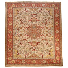 Antique Persian Tabriz Rug with Ivory and Red Floral Patterns, circa 1960s