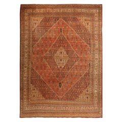 Antique Persian Tabriz Rug with Large Diamond and Floral Patterns, circa 1910s