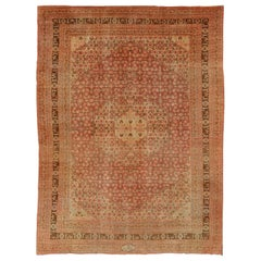 Antique Persian Tabriz Rug with Medallion Design in Coral, Cream and Brown Tones