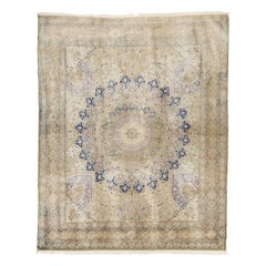 Antique Persian Tabriz Rug with Navy and Purple Floral Details