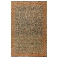Antique Persian Tabriz Rust, Beige & Gray-Blue Handwoven Wool Carpet