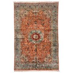Antique Persian Tabriz Silk Carpet with Birds and Animals, circa 1940s