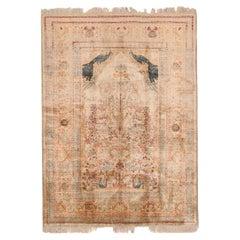 Antique Persian Tabriz Silk Prayer Rug. 4 ft 3 in x 5 ft 6 in