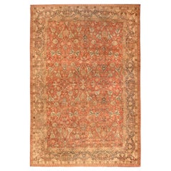 Antique Persian Tabriz Taupe, Camel and Red Handmade Wool Rug