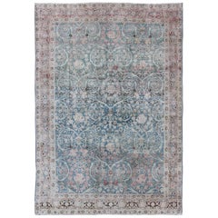 Antique Persian Tabriz with Stylized Floral Design in Blue, Salmon, Gray, Pink