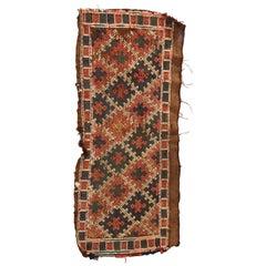 Antique Persian Tribal Soumak Turkmen Juval Oriental Rug, 19th Century